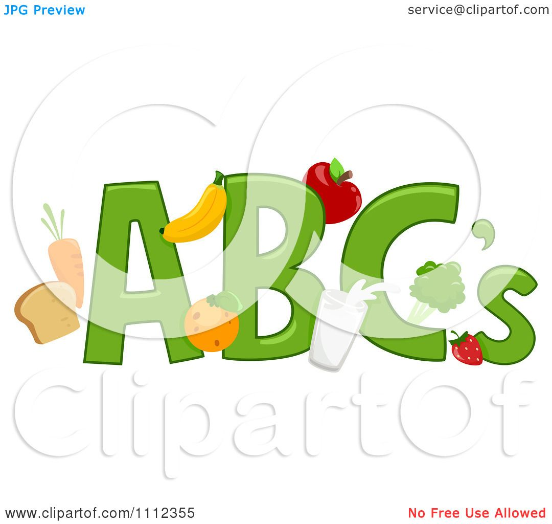 Clipart ABC Letters With Healthy Food - Royalty Free ...