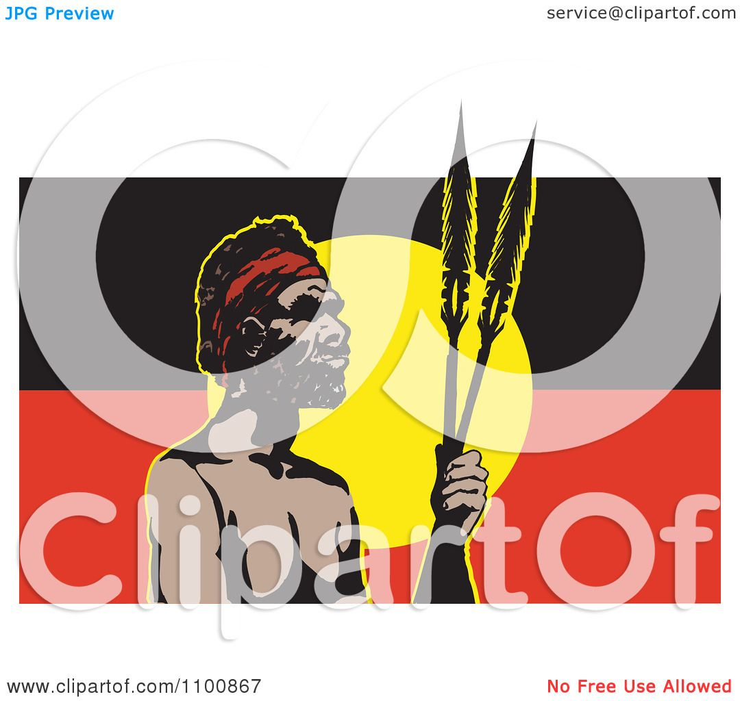 Clipart Aboriginal Man With Spears And An Australian Aboriginal Flag