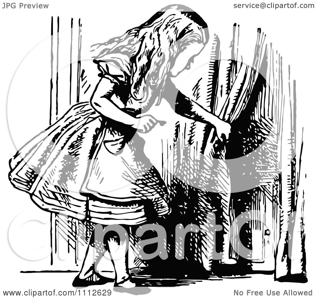 Clipart Alice Holding A Key And Looking At A Tiny Door To Wonderland - Royalty Free Vector Illustration by Prawny Vintage  sc 1 st  Clipart Of & Clipart Alice Holding A Key And Looking At A Tiny Door To ... pezcame.com