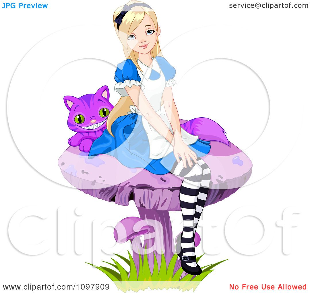Alice In Wonderland Mushroom Silhouette Clipart alice seated on a