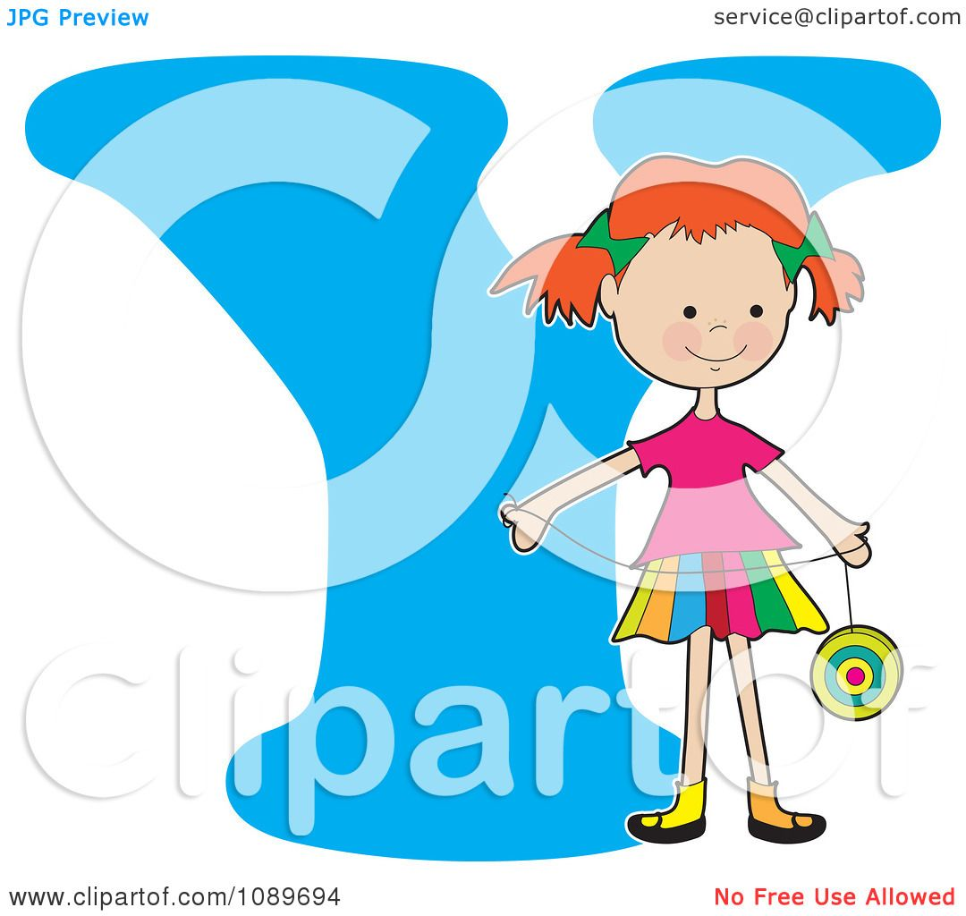 Clipart Alphabet Girl Holding A Yo Yo Over Letter Y - Royalty Free ... for Clipart Yoyo  55jwn