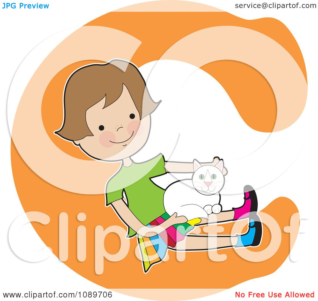 Clipart Alphabet Girl Petting A Cat Over Letter C