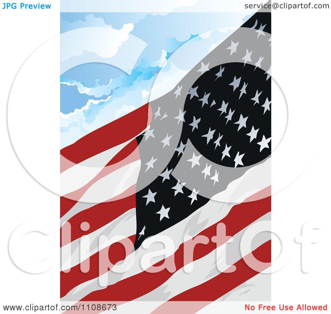 clipart american flag waving against a cloudy sky