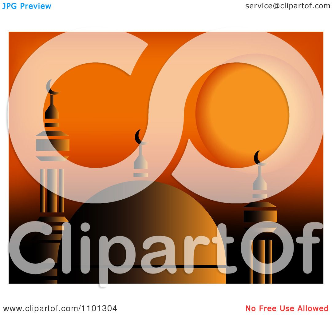 Clipart Arabic Muslim Mosque And Full Moon Over Orange 2 - Royalty ... Orange Moon Clipart