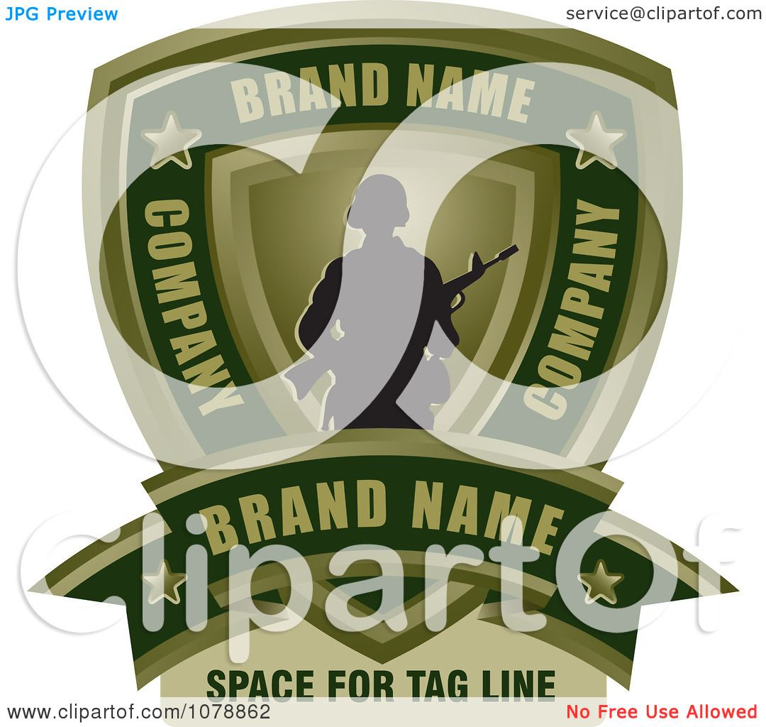 Clipart Army Soldier Shield And Banner Sample Text Logo - Royalty ...