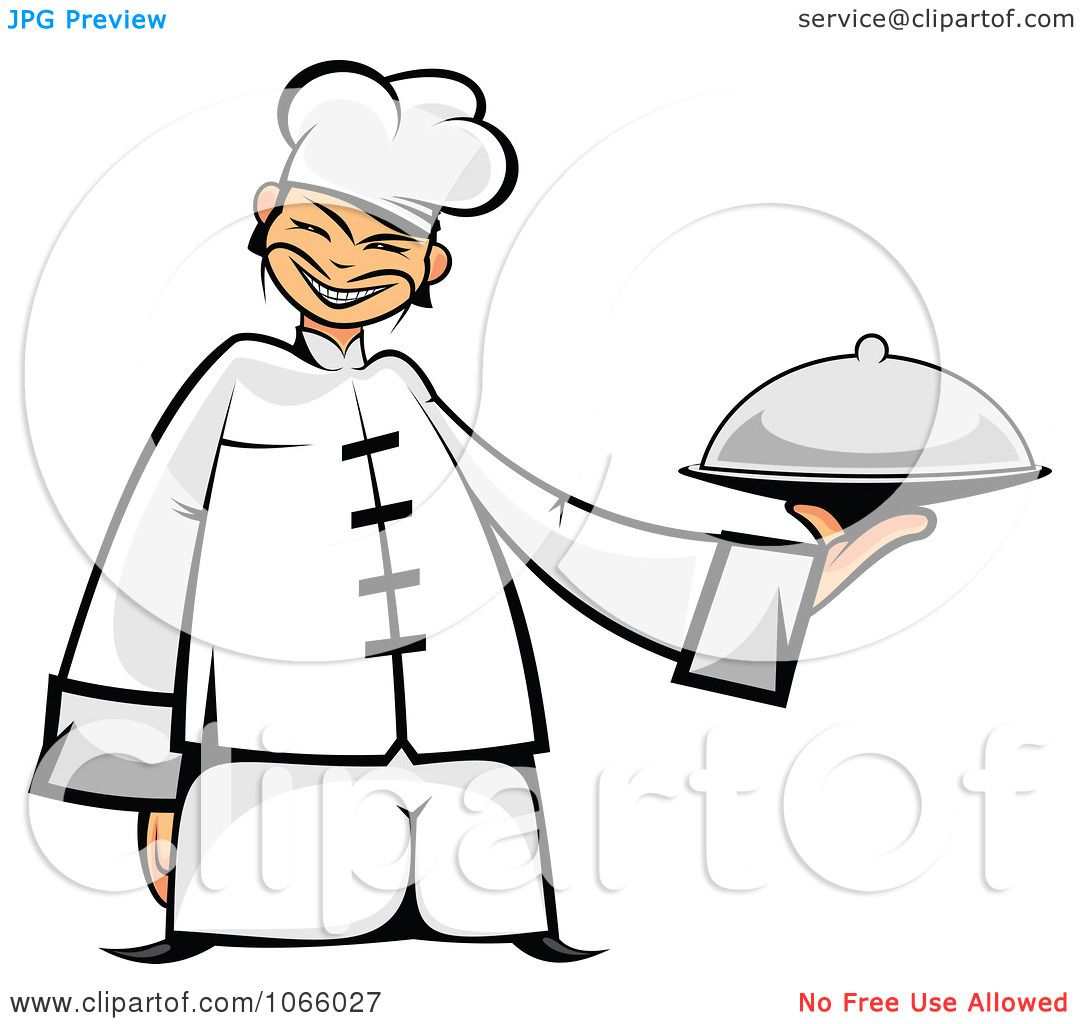 Clipart Asian Chef Holding A Platter - Royalty Free Vector ...
