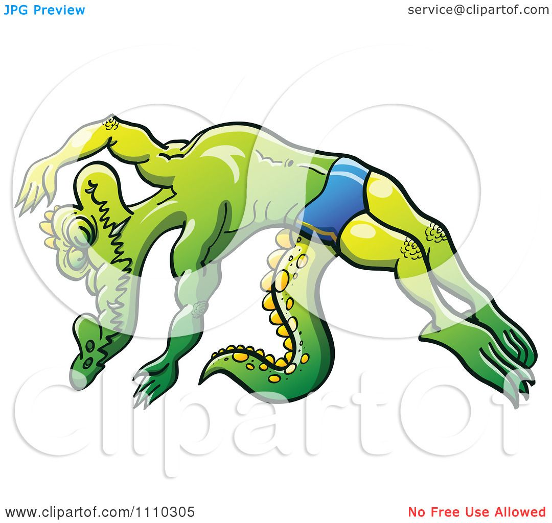 Clipart Athletic Swimmer Alligator Diving - Royalty Free Vector ...