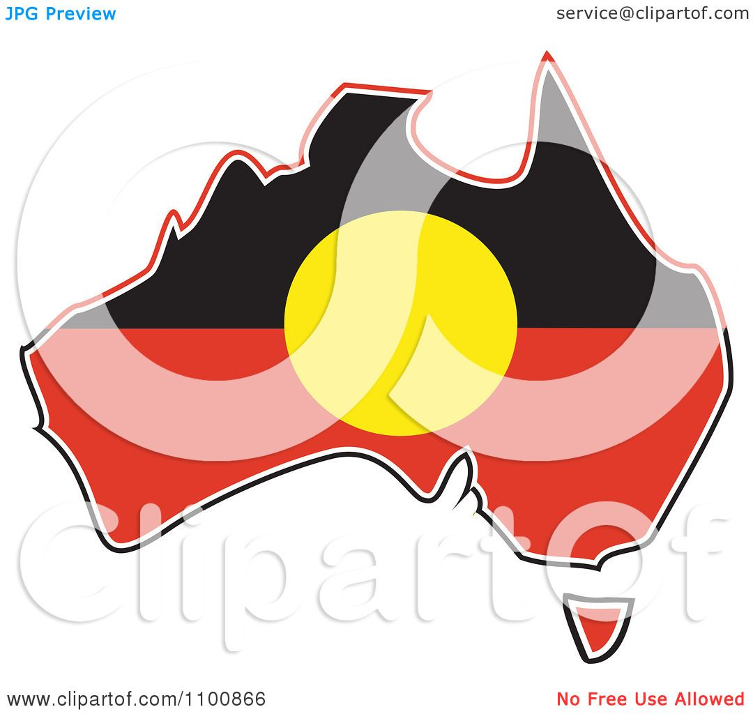 Clipart Australian Aboriginal Flag In The Shape Of The Continent