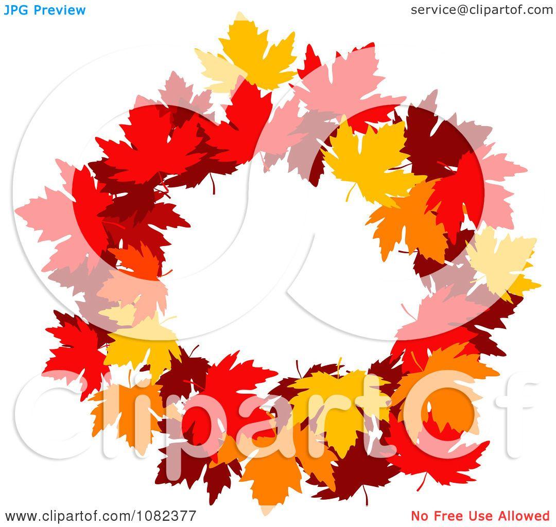 Clipart Autumn Maple Leaf Wreath - Royalty Free Vector ...