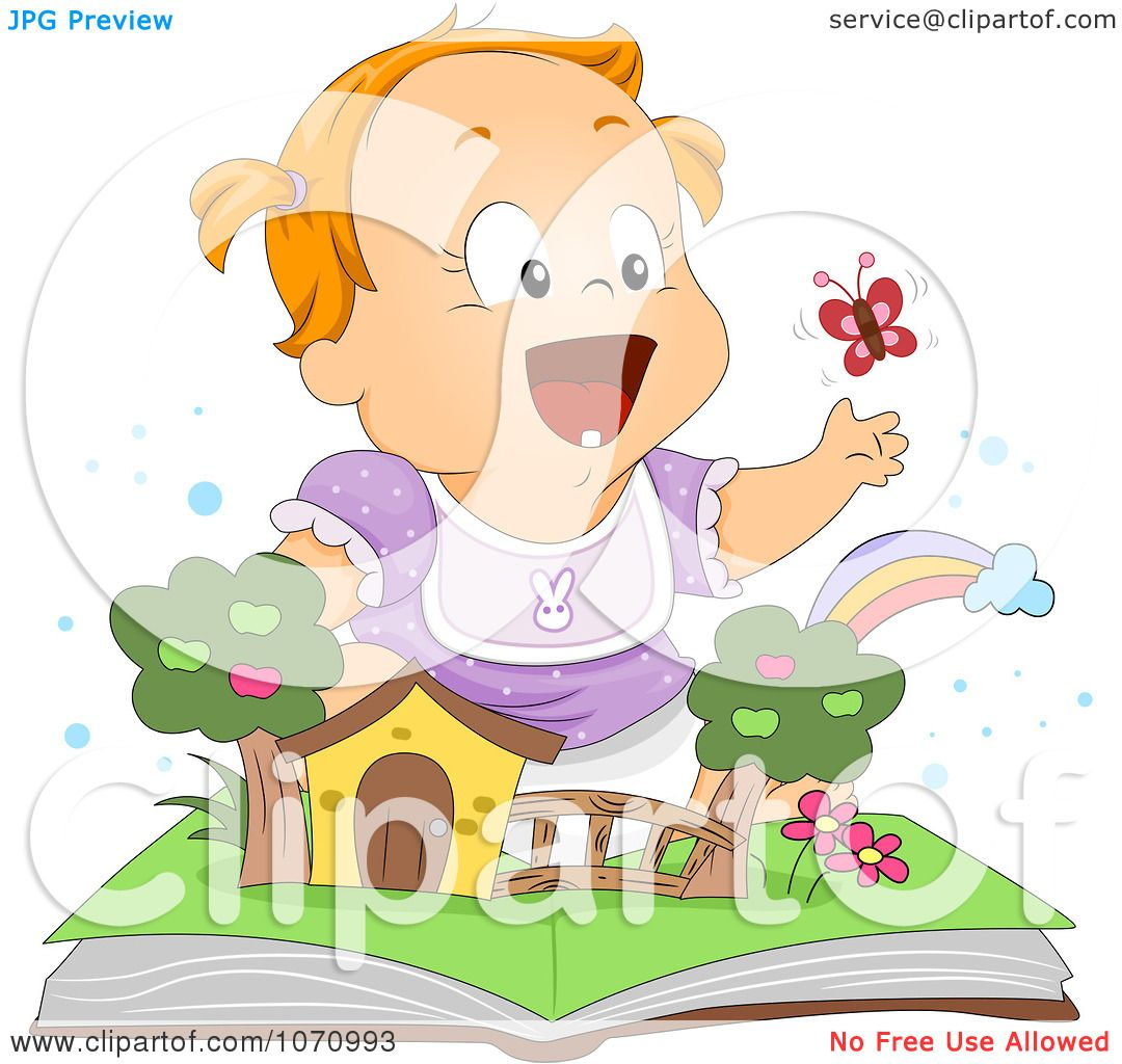 Clipart Baby Girl Playing With A Popup Book Royalty Free Vector Illustration by BNP Design
