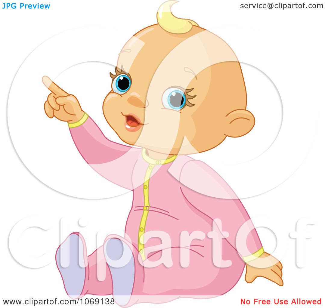 Clipart Baby Girl Pointing - Royalty Free Vector Illustration by ...