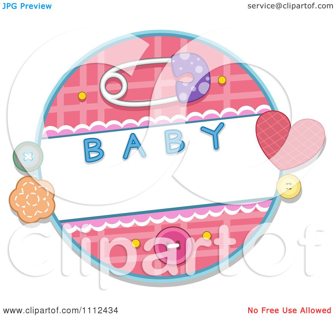 Clipart Baby Safety Pin With Buttons And A Round Frame