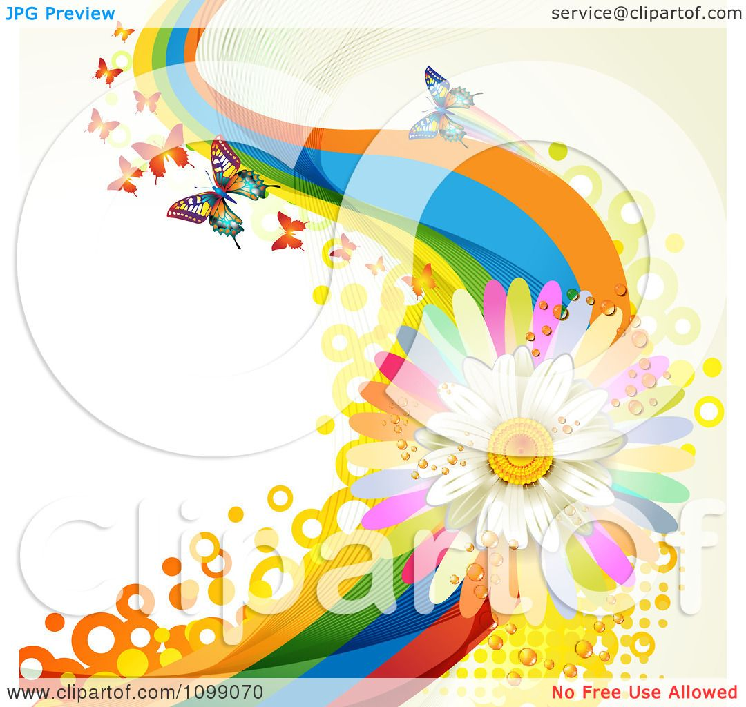 Clipart Background Of Butterflies With Rainbow Waves
