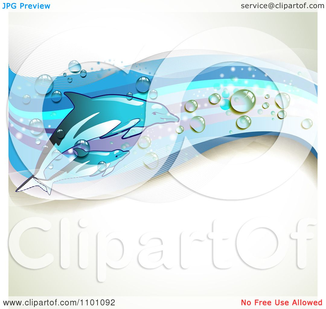 Clipart Background Of Swimming Dolphins With Blue Waves And ...