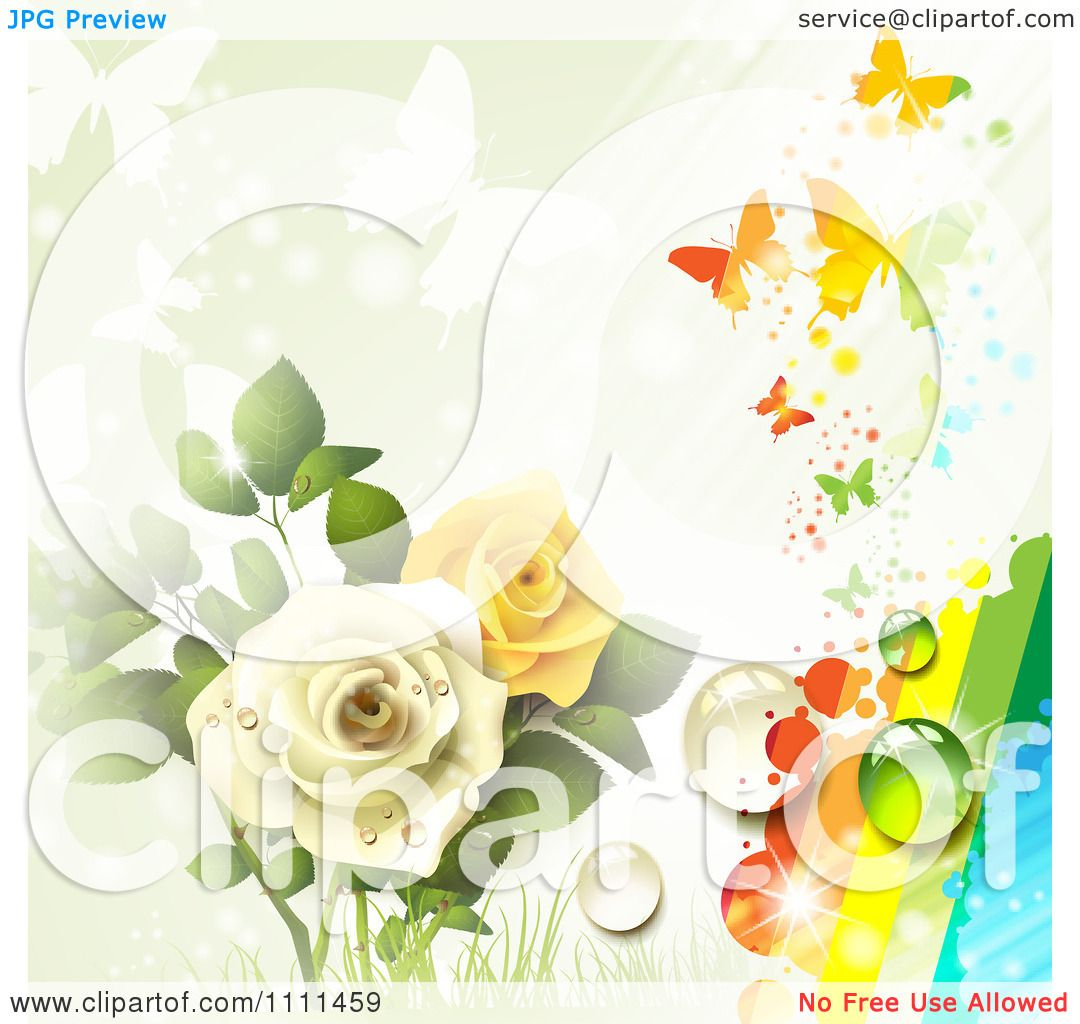 Clipart Background Of Yellow And White Roses Butterflies ...