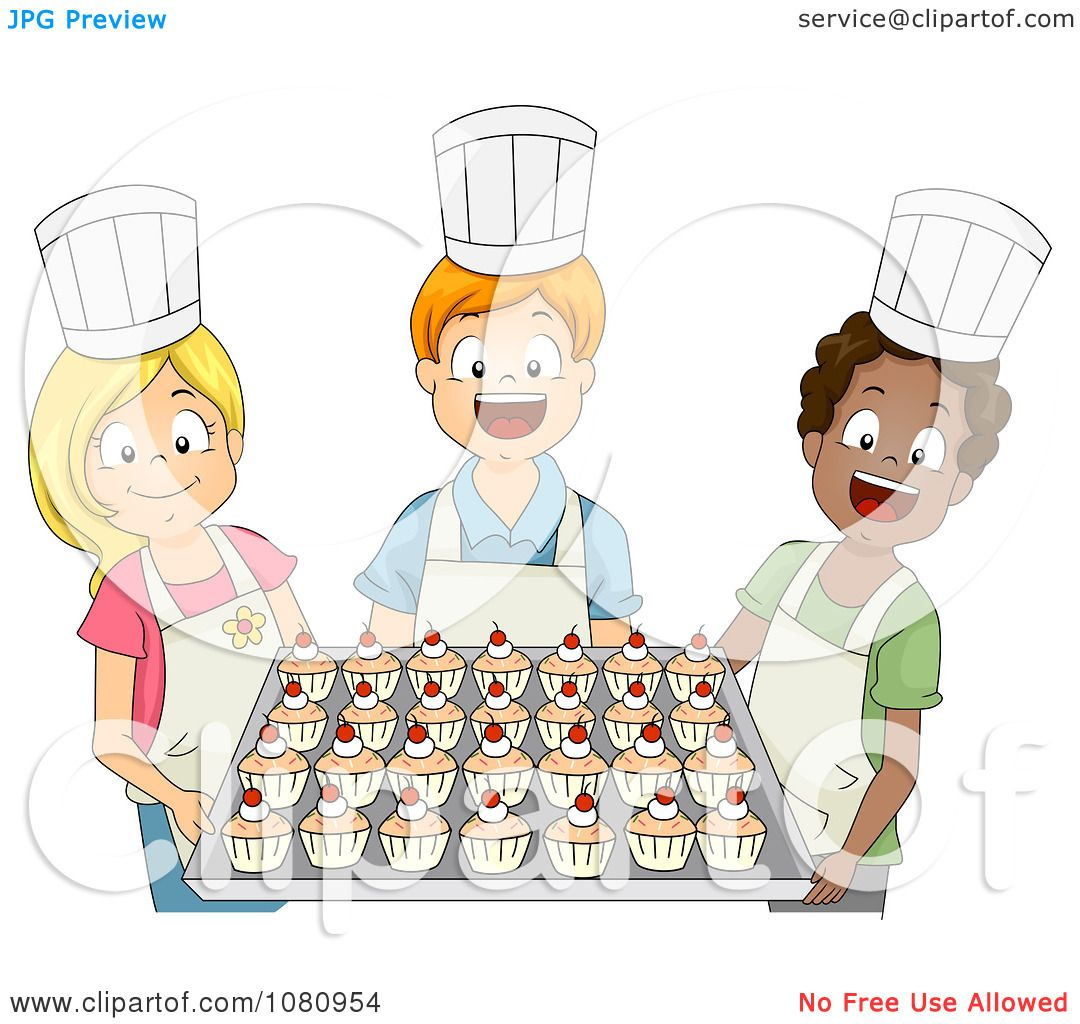 Clipart Baking Club Kids Holding A Tray Of Cupcakes