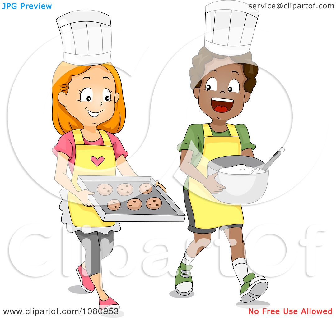 Clipart Baking Club Kids With Cookies And Dough Royalty Free Vector Illustration