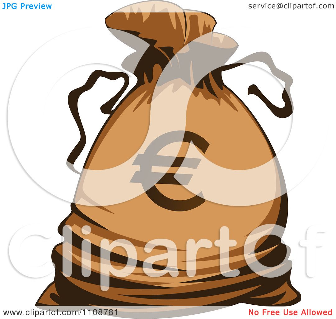 Clipart Bank Money Bag With A Euro Symbol - Royalty Free Vector ...