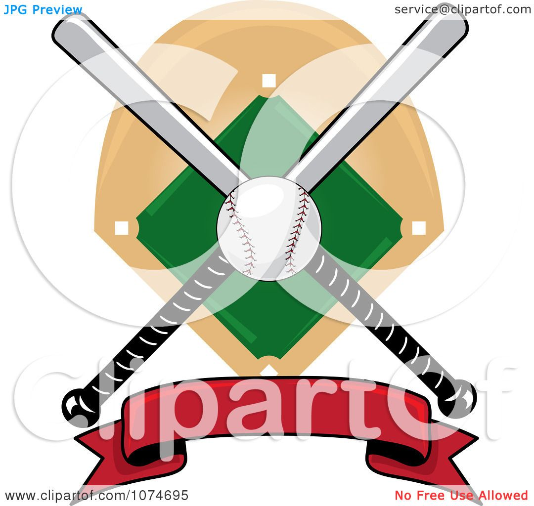 clipart baseball bat banner field and ball logo 1 royalty free rh clipartof com Baseball Bat Outline Baseball Bat Clip Art Vector