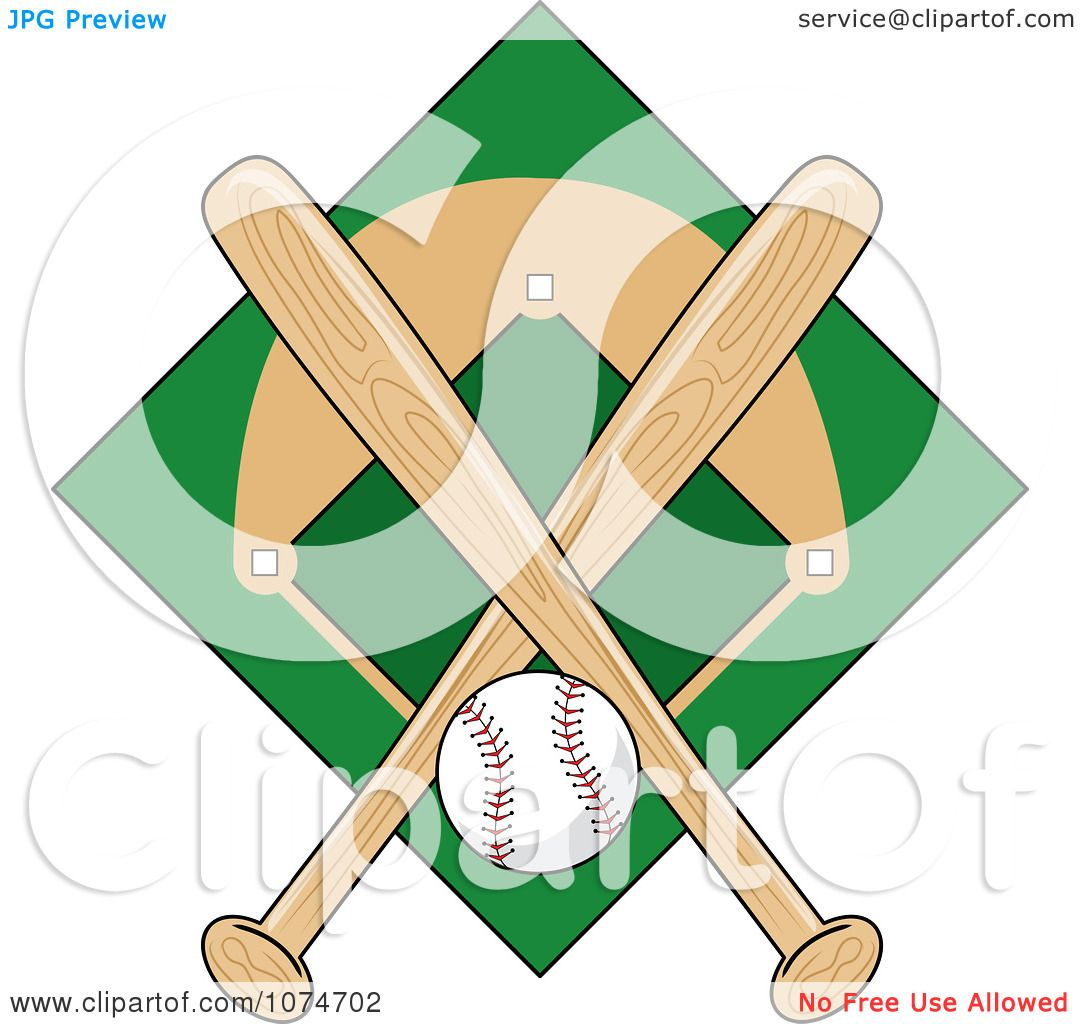 Clipart Baseball Bat Field And Ball Logo 1 Royalty Free Vector