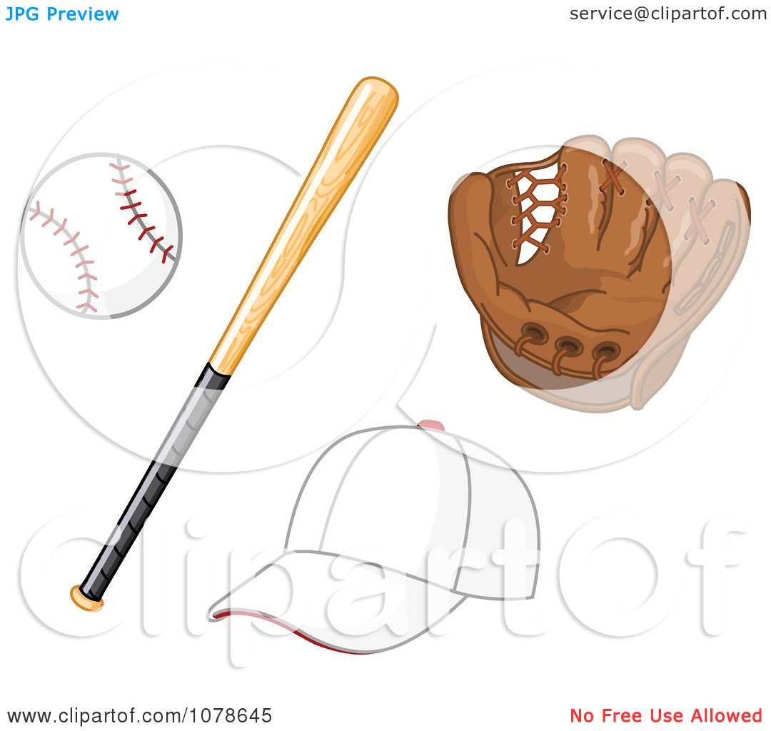 Clipart Baseball Bat Glove And Hat Royalty Free Vector