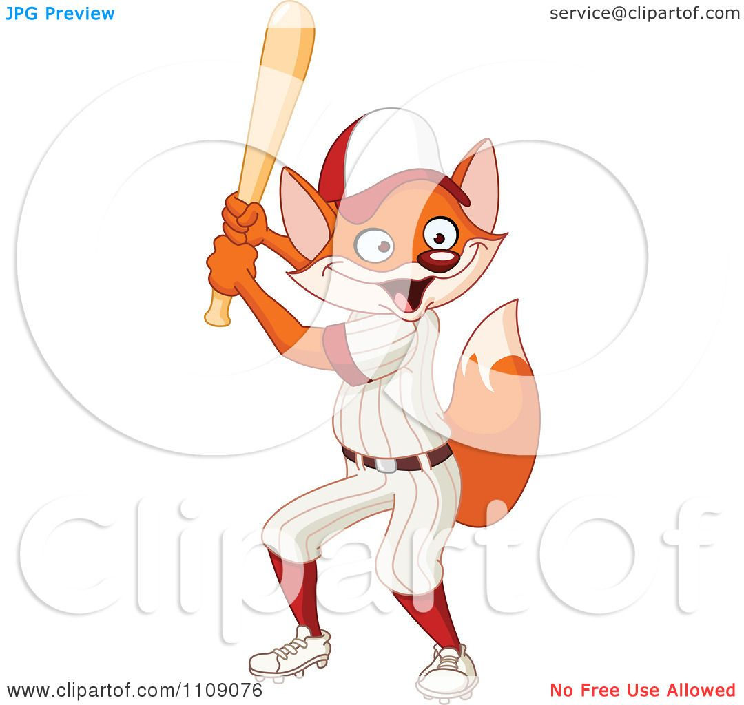 Clipart Baseball Player Fox Batting Royalty Free Vector Illustration By Yayayoyo
