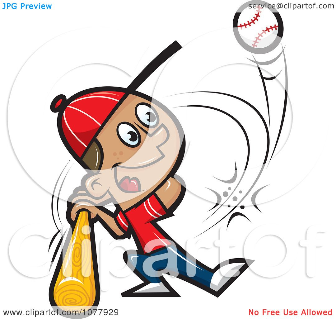 Clipart Baseball Player Swinging His Bat - Royalty Free Vector ...