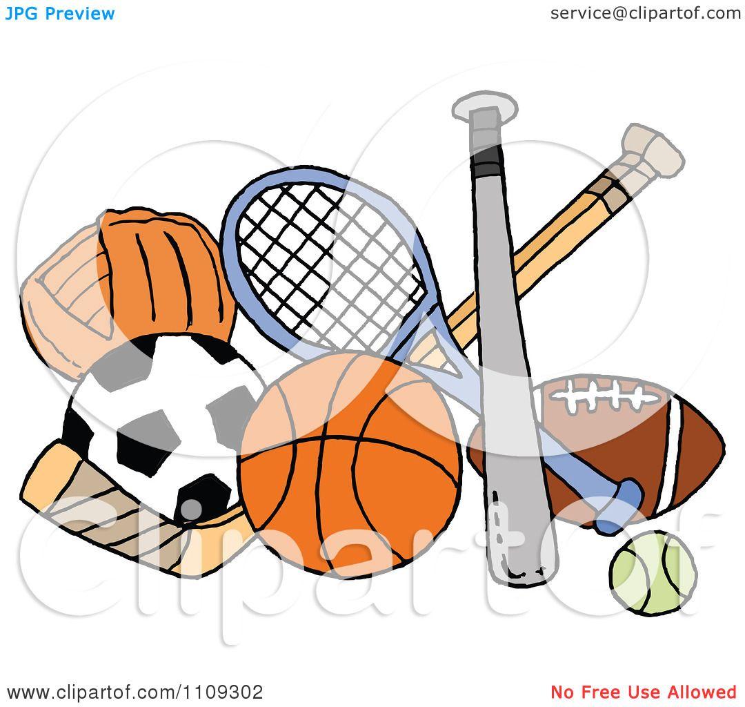 Clipart Baseball Soccer Basketball Hockey Tennis And