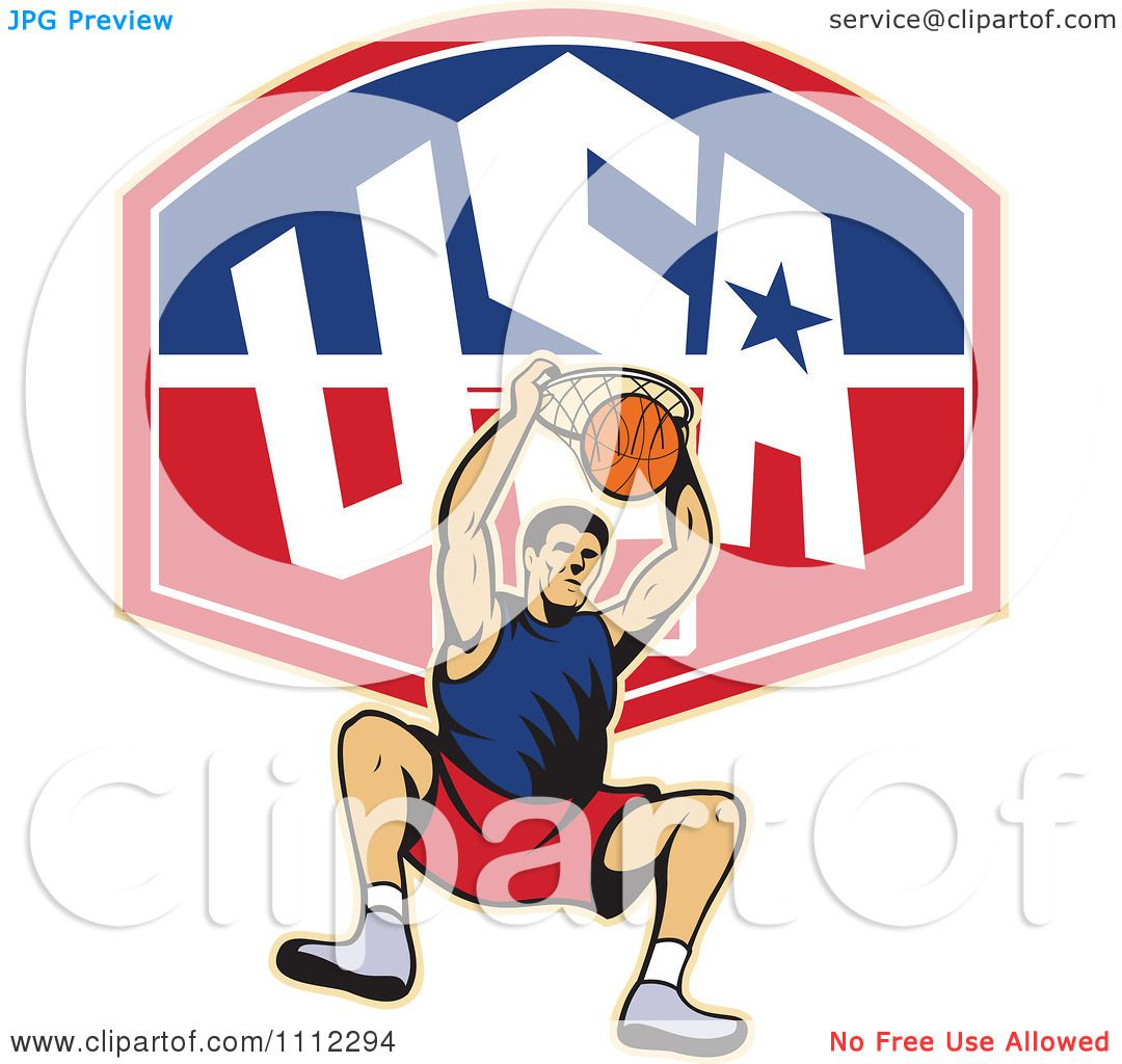 Clipart Basketball Player Dunking The Ball Over A USA