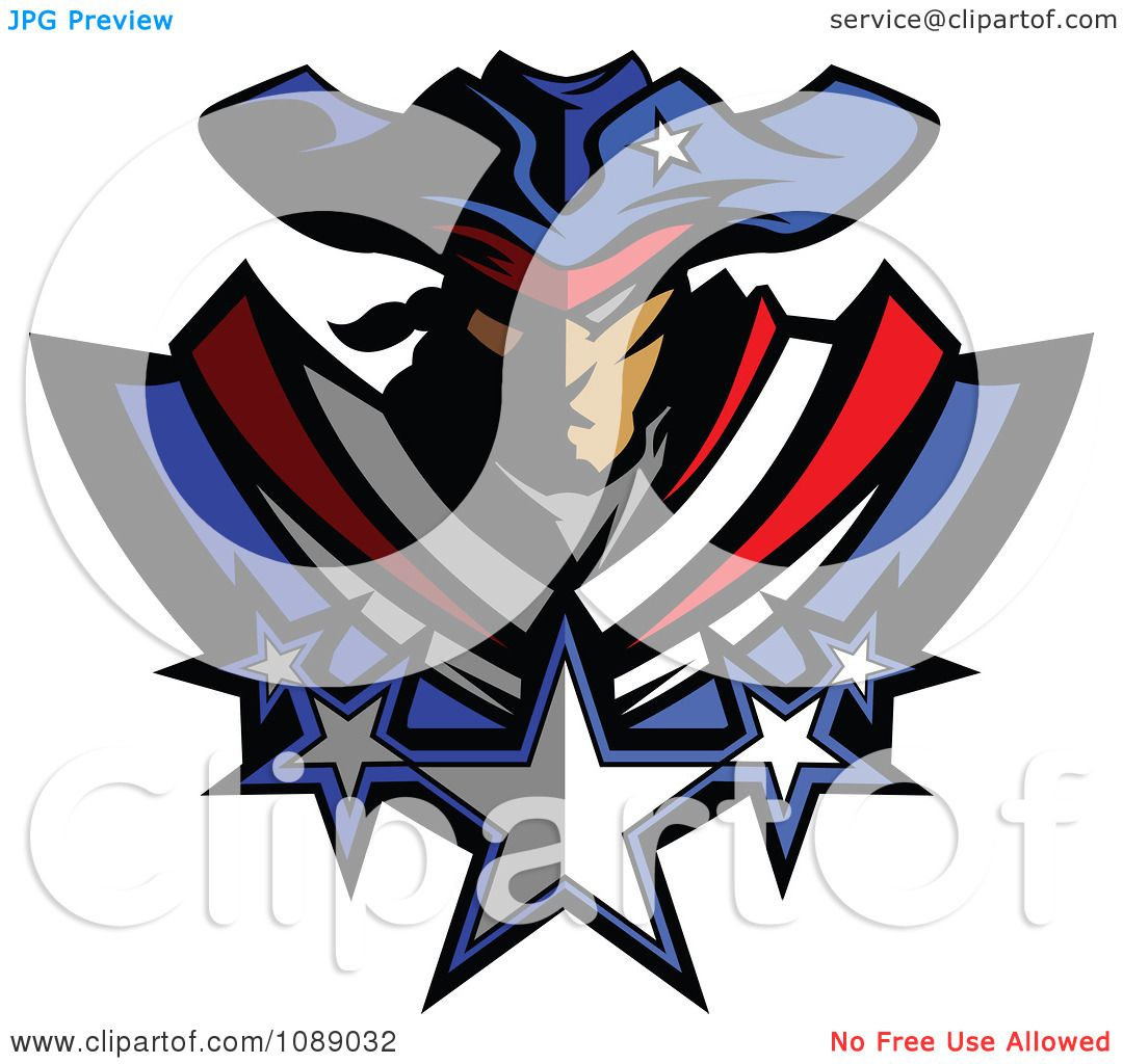 Clipart Battle Patriot Mascot With Stars - Royalty Free Vector ...