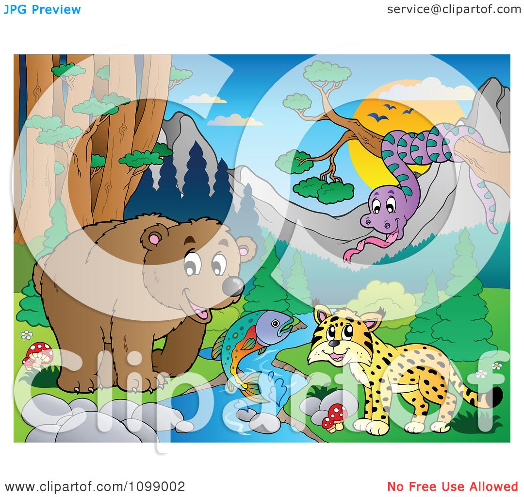 Clipart Bear Fish Wildcat And Snake By A Stream During The Day ...