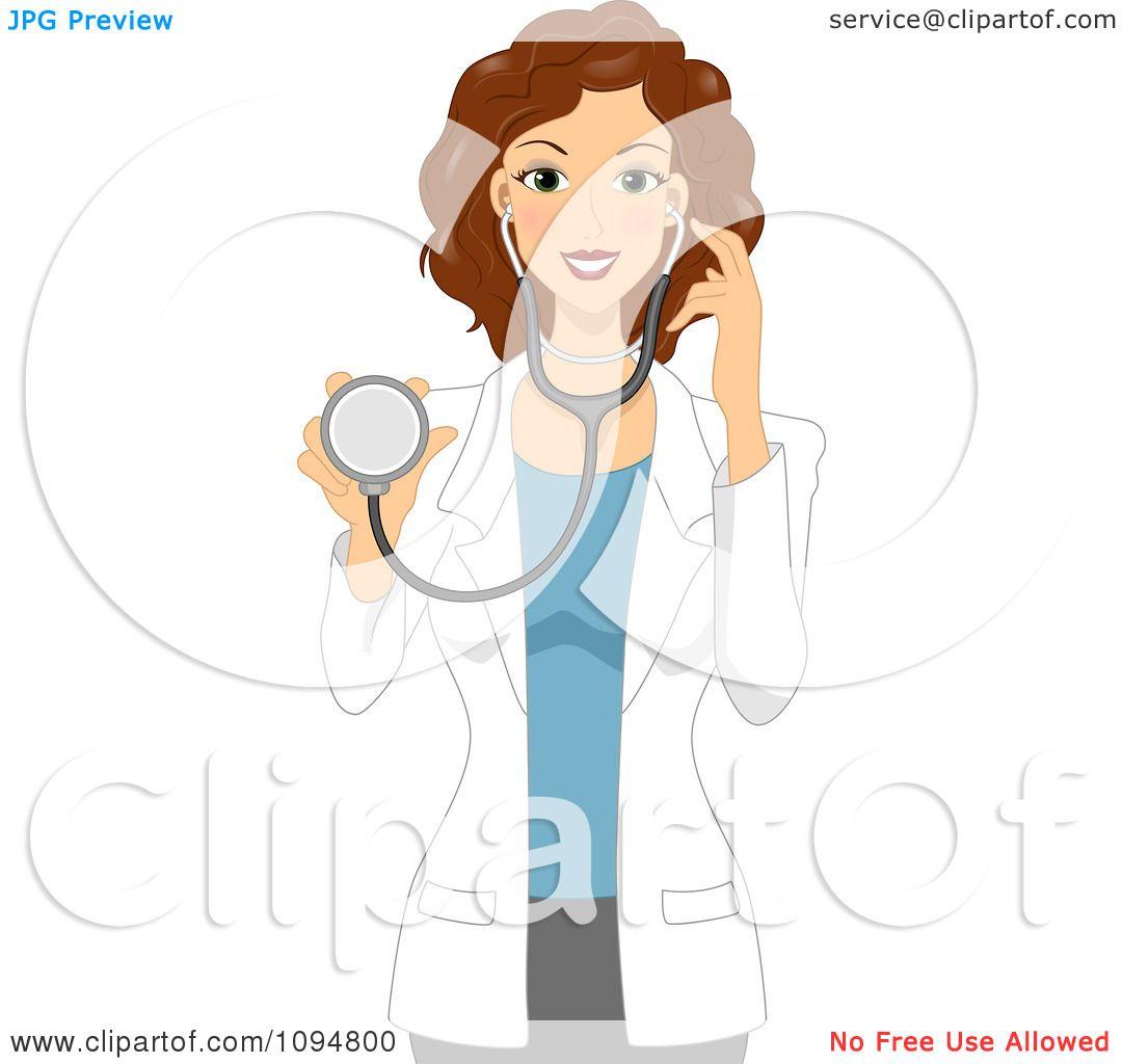Clipart Beautiful Brunette Female Doctor Or Veterinarian ...