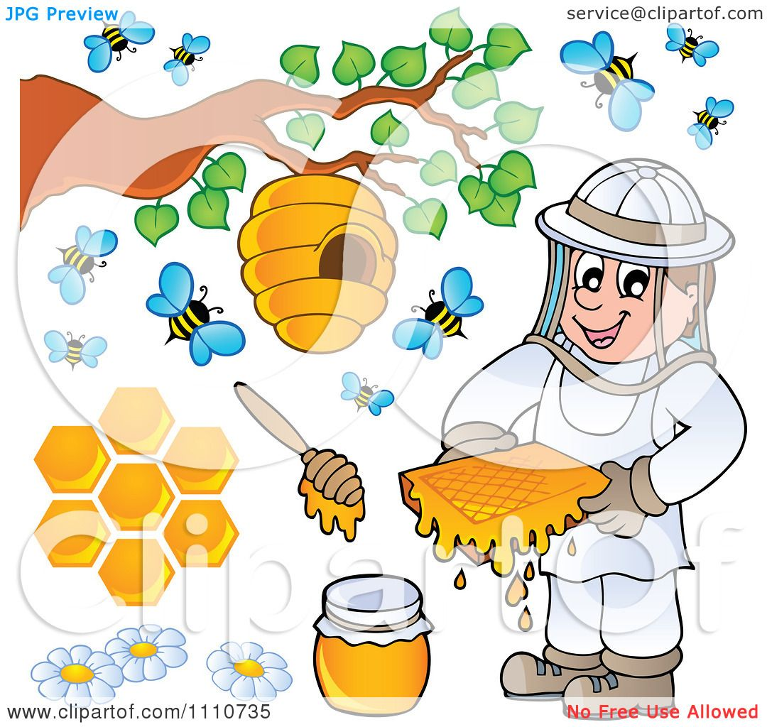 Clipart Bee Keeper With Honey Combs Jar Stick Hive And