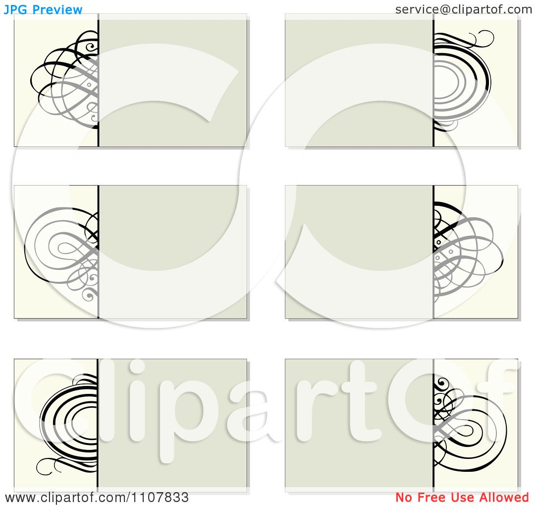 Clipart Beige And Black Swirl Business Card Designs - Royalty Free ...