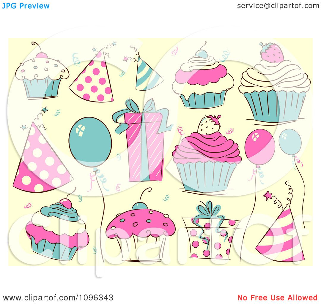 Clipart Beige Pink And Turquoise Party Hats Cupcakes