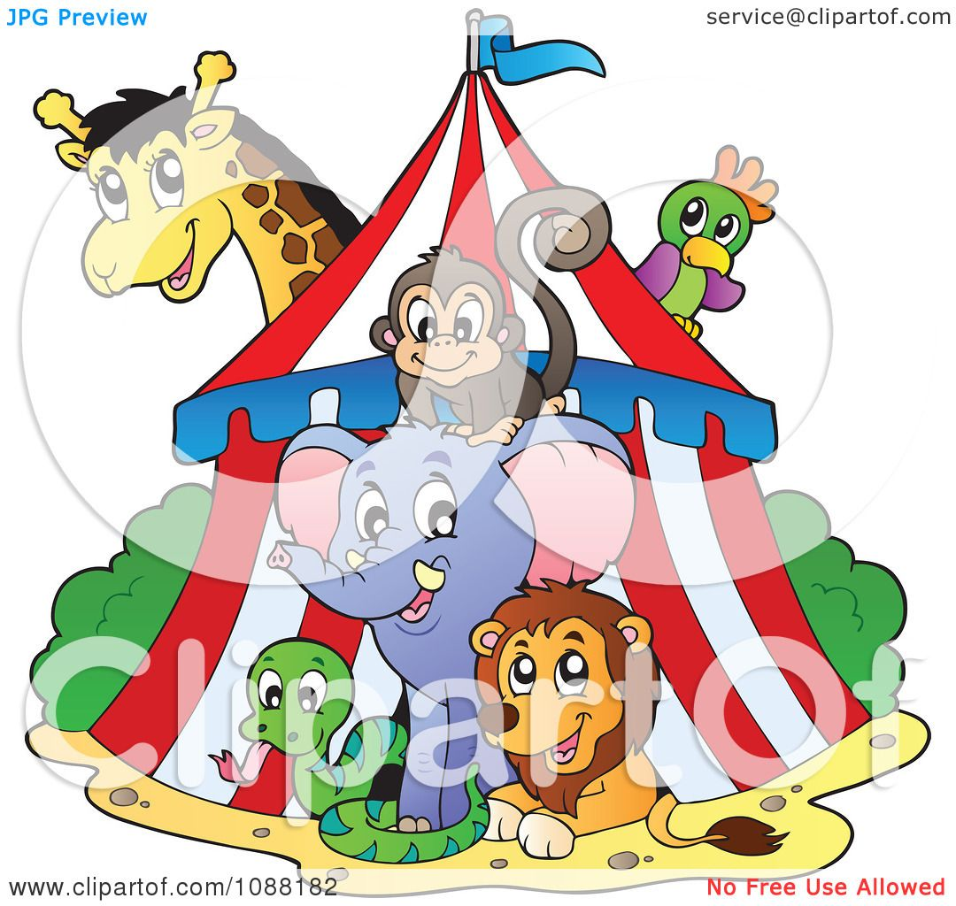 Clipart Big Top Circus Tent And Animals - Royalty Free Vector ...