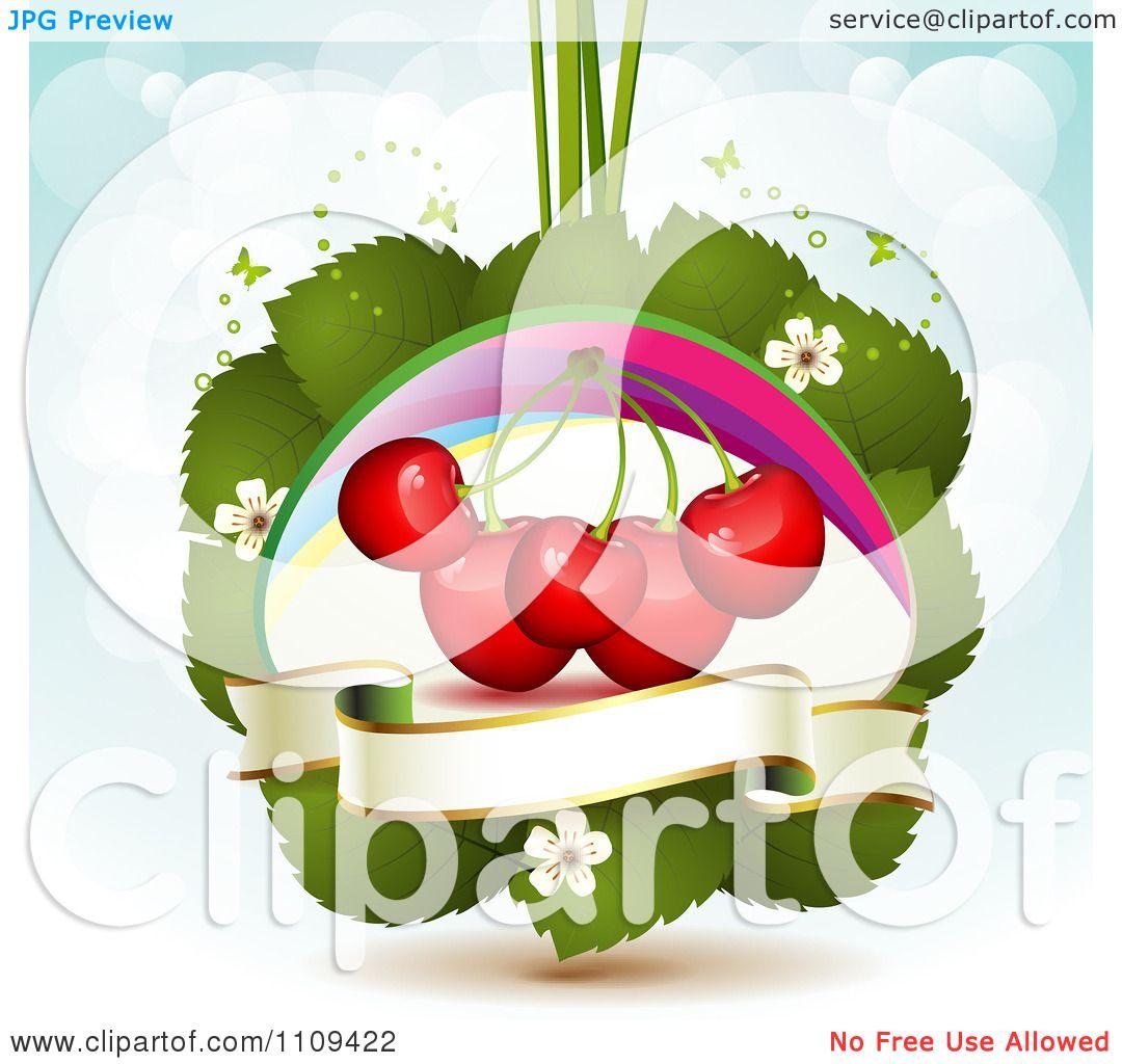 Clipart Bing Cherries On Leaves