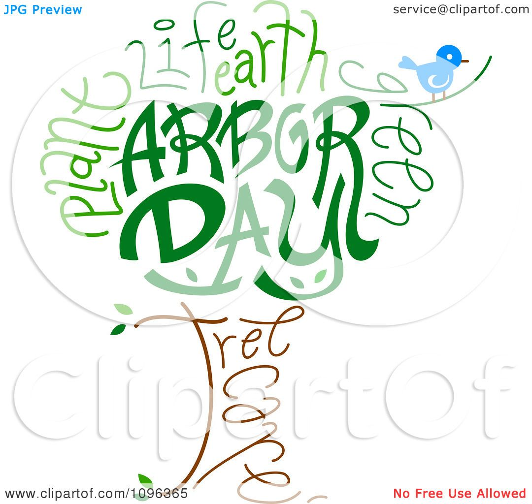 clipart bird and arbor day text forming a tree royalty free