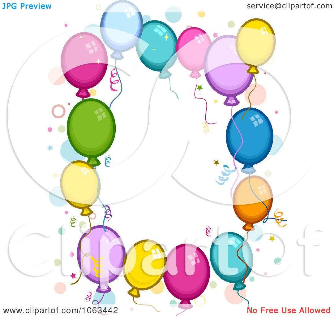 Clipart Birthday Balloon Frame Royalty Free Vector Illustration by