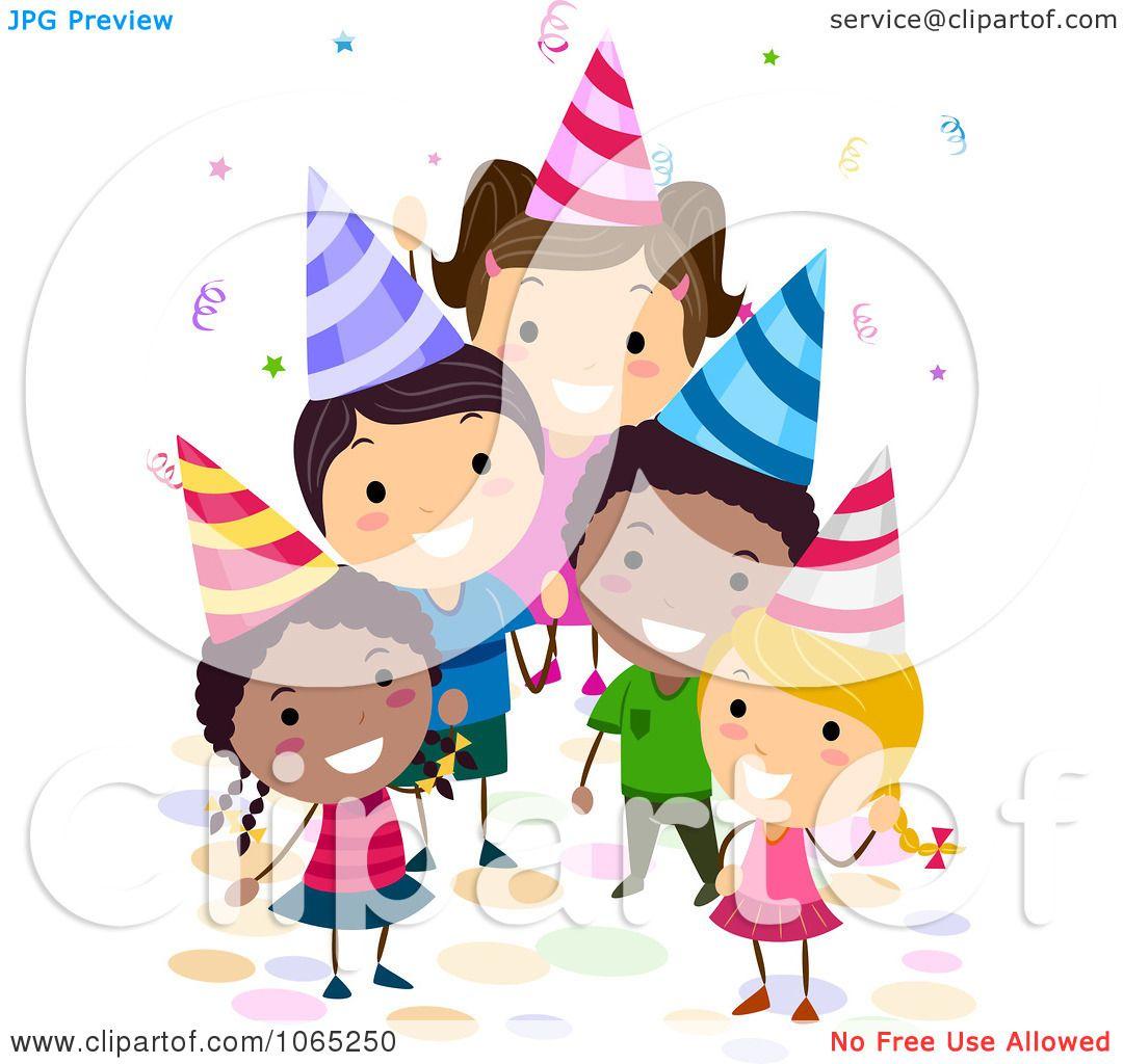 Clipart Birthday Kids Waving Royalty Free Vector