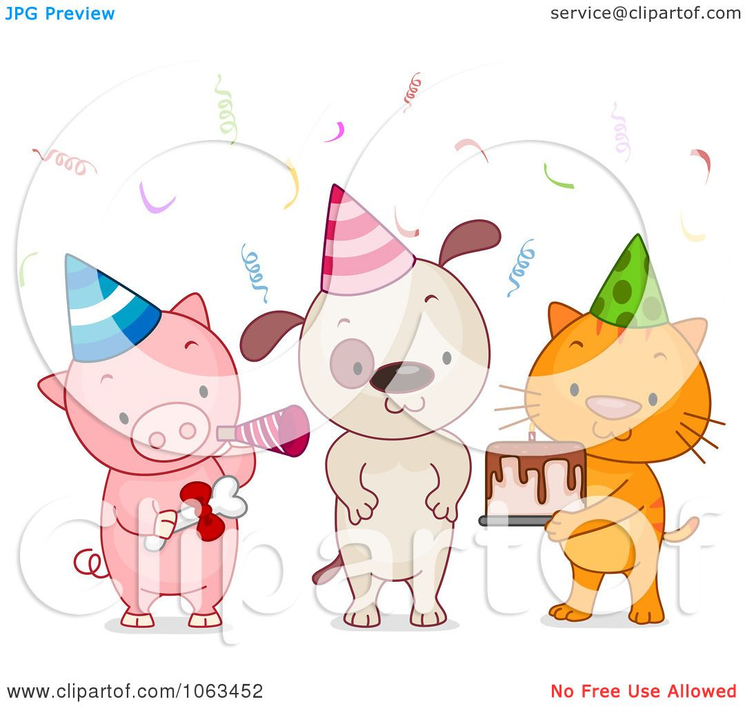 Clipart Birthday Party Animals - Royalty Free Vector ...