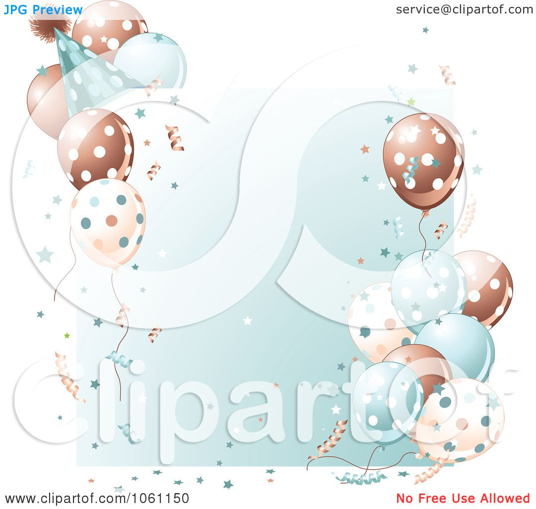 Clipart Birthday Party Frame In Brown And Blue Royalty Free
