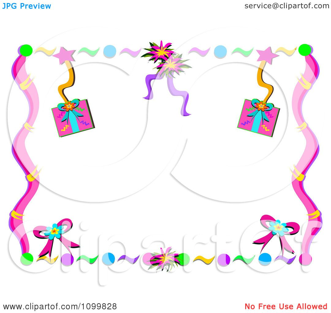 Clipart Birthday Party Gift Streamer And Confetti Frame - Royalty ...