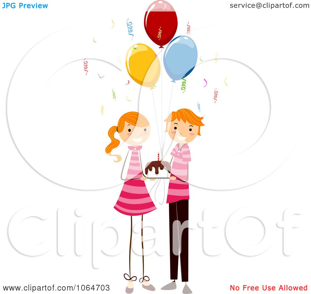 Clipart Birthday Twin Boy And Girl Holding A Cake Royalty Free