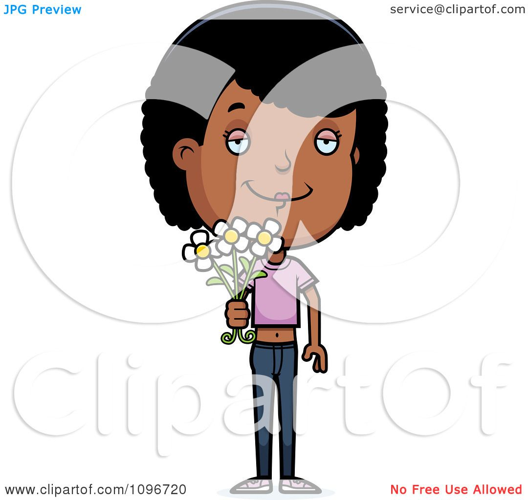 clipart girl holding flowers - photo #49