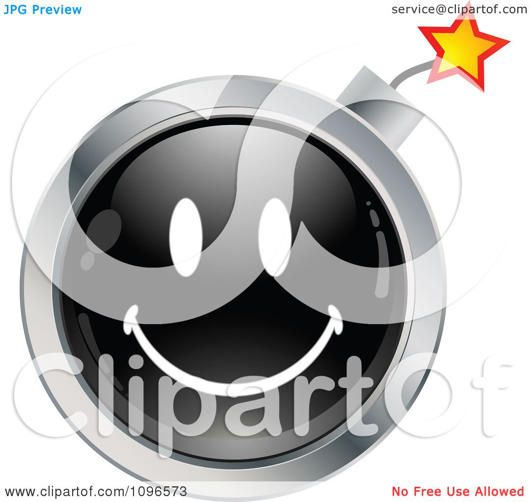 Clipart Black And Chrome Bomb Cartoon Smiley Emoticon Face