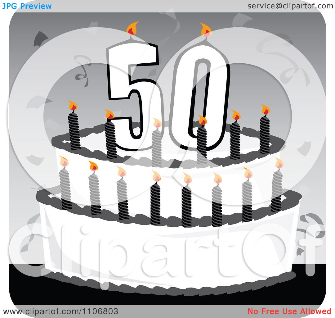 50th birthday clip art black and white