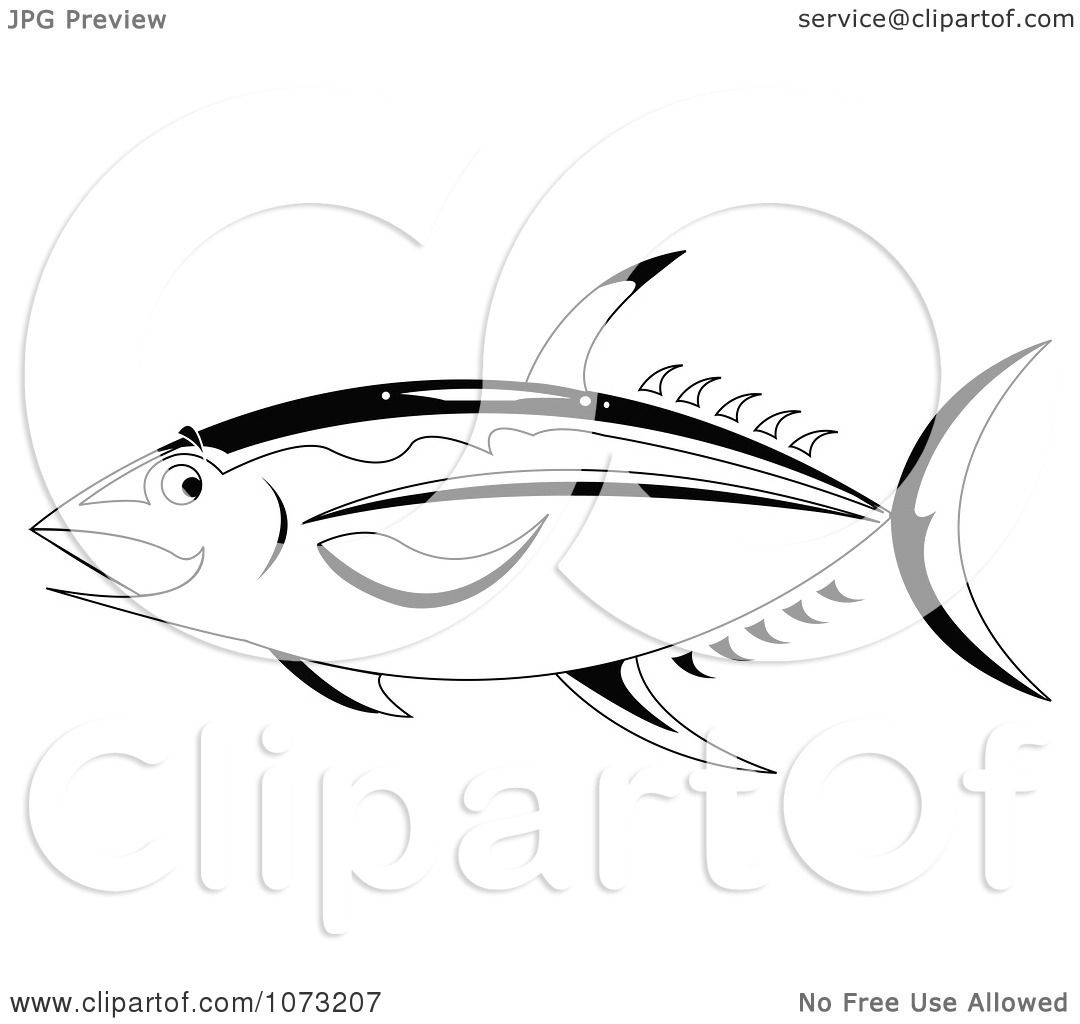 Clipart Black And White Ahi Tuna Fish - Royalty Free Vector ...