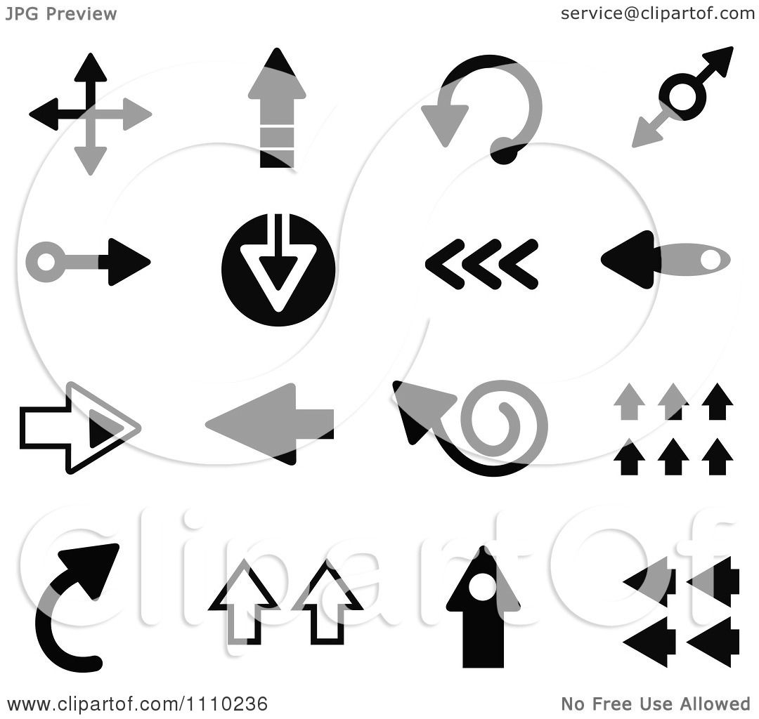 Clipart Black And White Arrow Icons - Royalty Free Vector ...