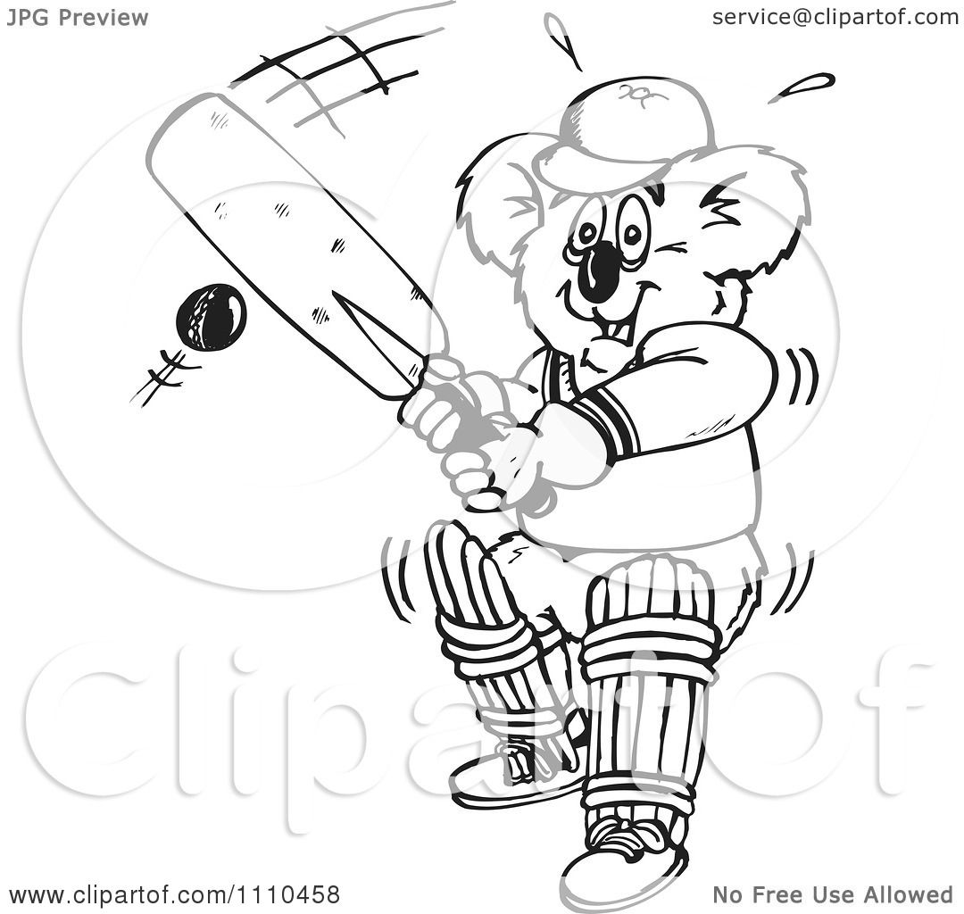 clipart black and white aussie koala playing cricket 1